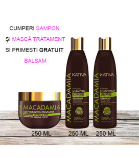 Kativa Kit cu ulei de MACADAMIA – Balsam 250 ml GRATUIT