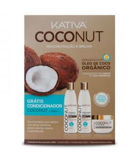 Kativa Kit cu Ulei de Cocos Organic - Balsam 250 ml GRATUIT