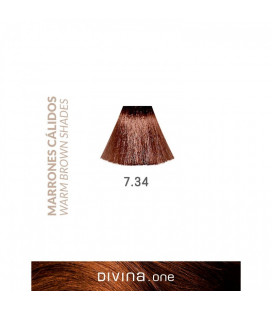 Vopsea de par 7.34 Macchiato Brown 100 ml Divina.One Eva Professional