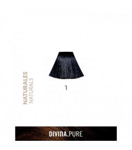 Vopsea de par fara amoniac  1 Black  60 ml  Divina.Pure Eva Professional