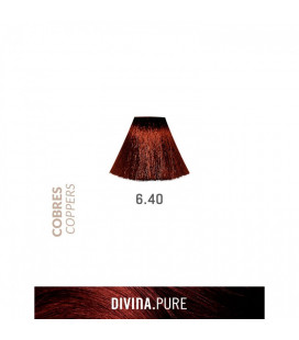 Vopsea de par fara amoniac 6.40 Light Coppery Brown 60 ml Divina.Pure Eva Professional