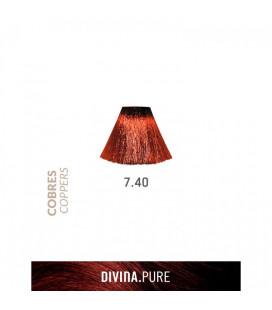 Vopsea de par fara amoniac 7.40 Very Light Coppery Brown 60 ml Divina.Pure Eva Professional