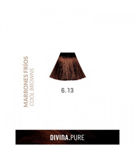 Vopsea de par fara amoniac  6.13 Light Chestnut Brown 60 ml  Divina.Pure  Eva Professional
