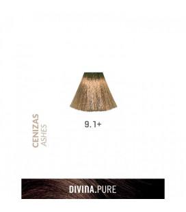 Vopsea de par fara amoniac  9.1+ Ash Blonde Plus 60 ml  Divina.Pure  Eva Professional